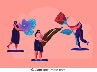 Tiny Perfumer Characters Holding Ingredients for Creating New Perfume Composition Rose, Violet Flowers and Vanilla Sticks. Fragrance, Toilet Water, Aroma, Perfumery. Cartoon Flat Vector Illustration