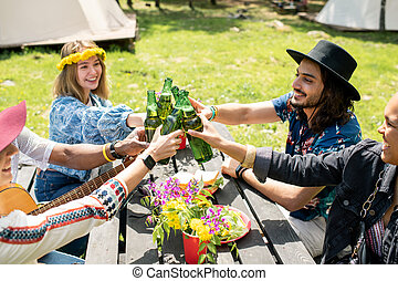 Toasting with friends outdoors