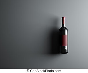 Top view red wine bottle mockup.