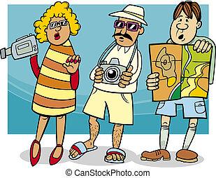 Cartoon Illustration of Funny Tourist Group on Vacation
