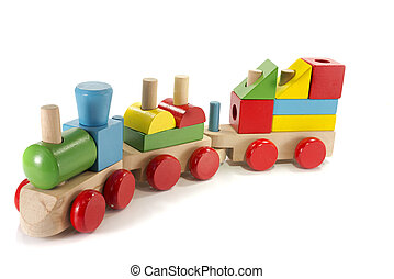 toy train made from wood with colorful blocs