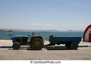 Tractor by the beach