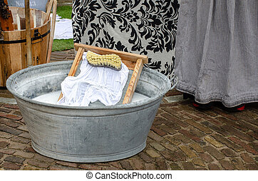Traditional style washing tub with wash board