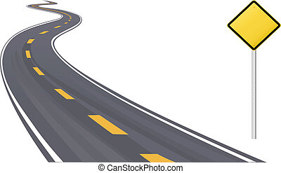 Traffic sign as information copy space on curving highway to the horizon