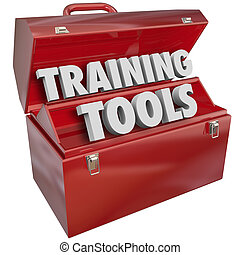 Training Tools words in red metal toolbox to illustrate skills and methods for learning new abilities to prepare you for success in your job, work, career or life