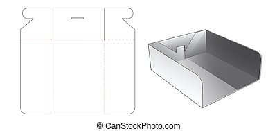 Tray box with window die cut template