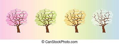 tree four seasons winter spring summer autumn