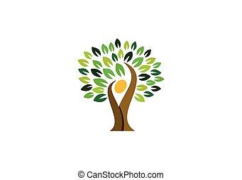 tree people logo, nature tree wellness logo symbol, natural tree people health logo icon vector design