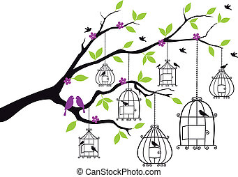 tree branch with open birdcages and birds, vector illustration