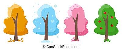 Trees winter autumn spring summer vector set