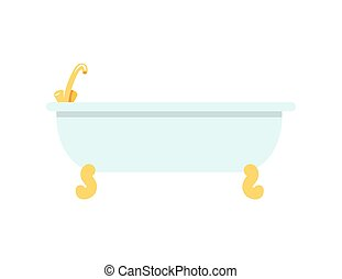 Tub with Golden Faucet Icon Vector Illustration