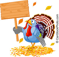 Illustration of a Thanksgiving turkey holding a blank board sign