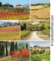 Tuscan house in idyllic landscape , collage