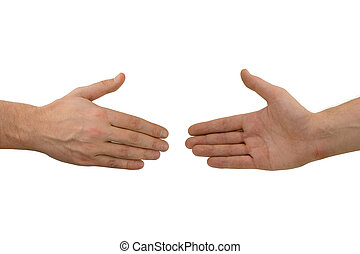 Two hands before handshake, isolated on white background
