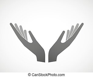 Illustration of two hands in offering pose