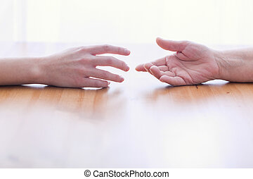 Image of two hands isolated on light background