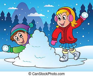 Two kids throwing snow balls - vector illustration.