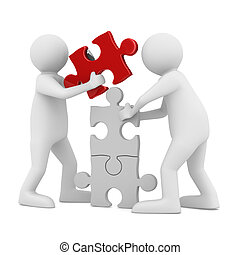two man build puzzle on white. Isolated 3D image