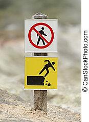 Warning sign at Wai-O-Tapu volcanic area, New Zealand