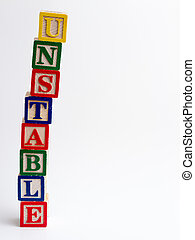 Unstable tower of blocks