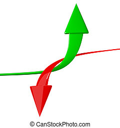 Up and Down Arrows isolated on white background