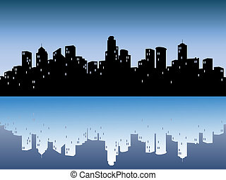 urban skylines with reflection