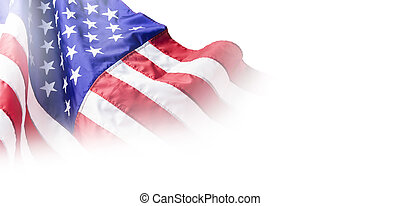 USA or american flag isolated on white background with copy space