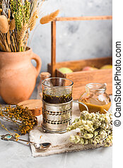 useful tea from dried medicinal herbs, alternative medicine