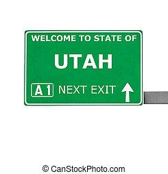 UTAH road sign isolated on white