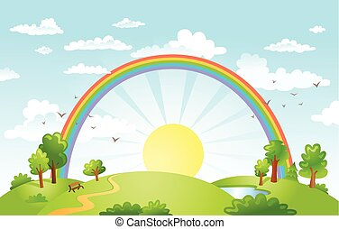 Vector beautiful landscape with rainbow.