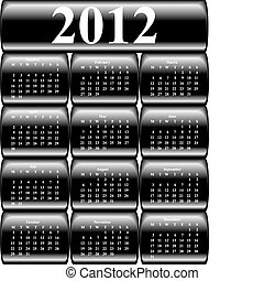 vector calendar 2012 on black buttons