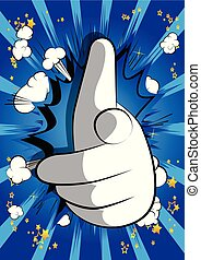 Vector cartoon hand pointing at the viewer.