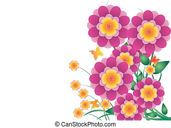 vector flower paper with butterfly on pink color background
