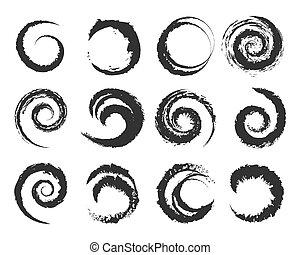 Set of grunge circle shapes. Paintbrush and brushstroke. Vector illustration