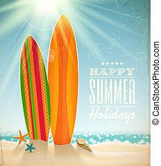 Vector holidays vintage design - surfboards on a beach against a sunny seascape
