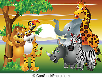 animal cartoon in the jungle