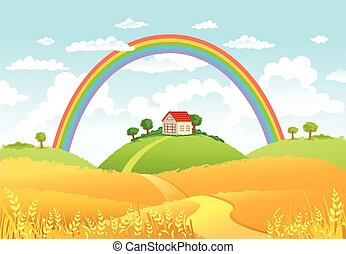 Vector illustration of beautiful landscape with rainbow.