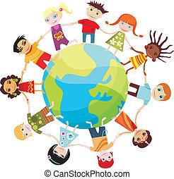 vector illustration of children of the world