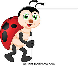vector illustration of funny lady bug cartoon with blank sign