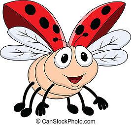 Vector Illustration Of Lady bug flying