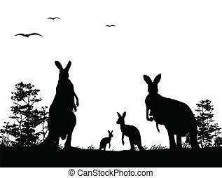 vector illustration of silhouette of the kangaroo family harmony