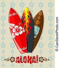 Vector illustration of aloha surf boards