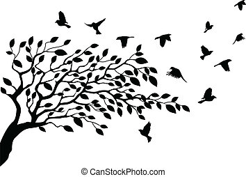 Vector illustration of Tree and bird silhouette