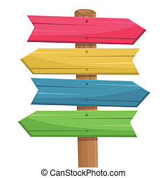 Vector of wooden route sign color