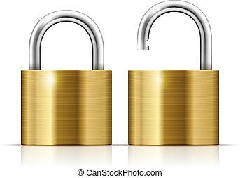 Locked and unlocked Padlock Icon isolated on white