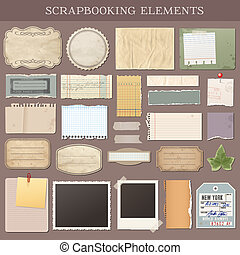 Collection of various scrapbooking vector elements