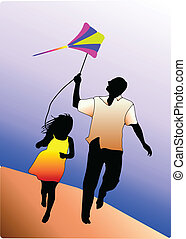 Vector silhouette of dad with son. Happy family