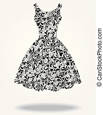 Vector silhouette of isolated back dress