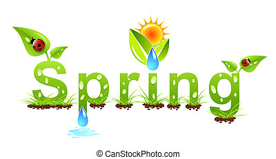 Vector spring concept with nature elements