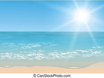 Beach and tropical sea with sun, vector.